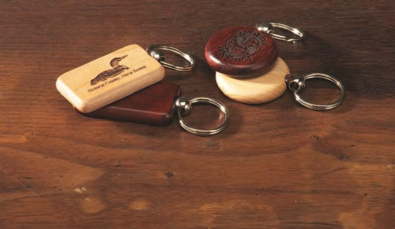 laser etched wooden key fob